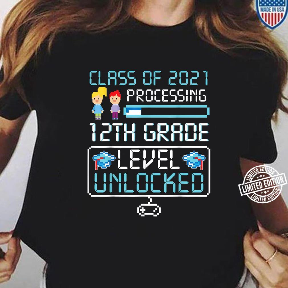 Class Of 2021 12th Grade Level Unlocked Gaming Shirt ladies tee