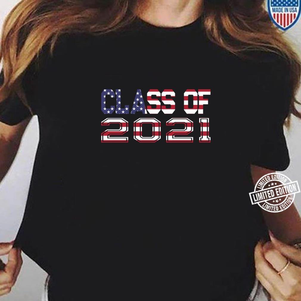 Class of 2021 Red White & Blue American Flag Shirt ladies tee