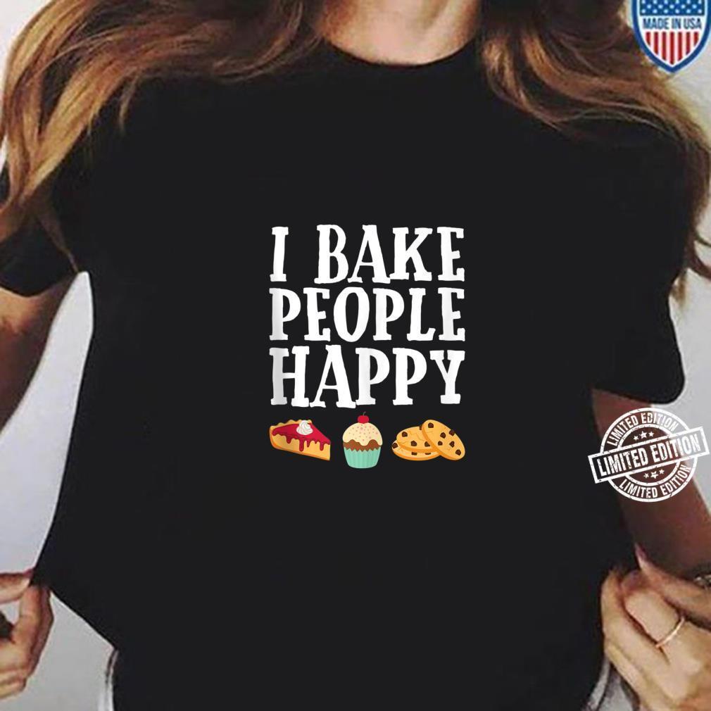 I Bake People Happy Dessert Baker Purple Shirt ladies tee